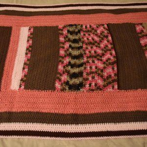 Hand-made crocheted throw afghan pink and brown
